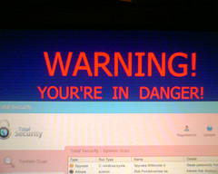 Warning message on a PC monitor