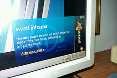 Avast anti virus logo displayed on a pc monitor