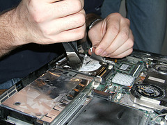 Laptop undergoing repair
